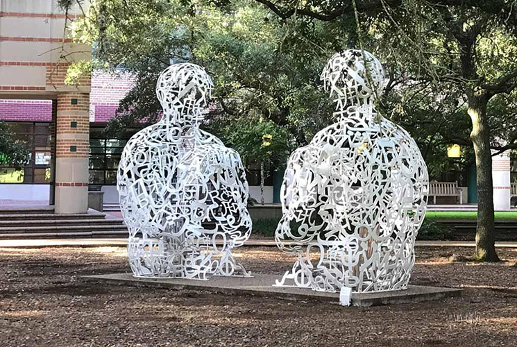 Jaume Plensa talking heads campus art