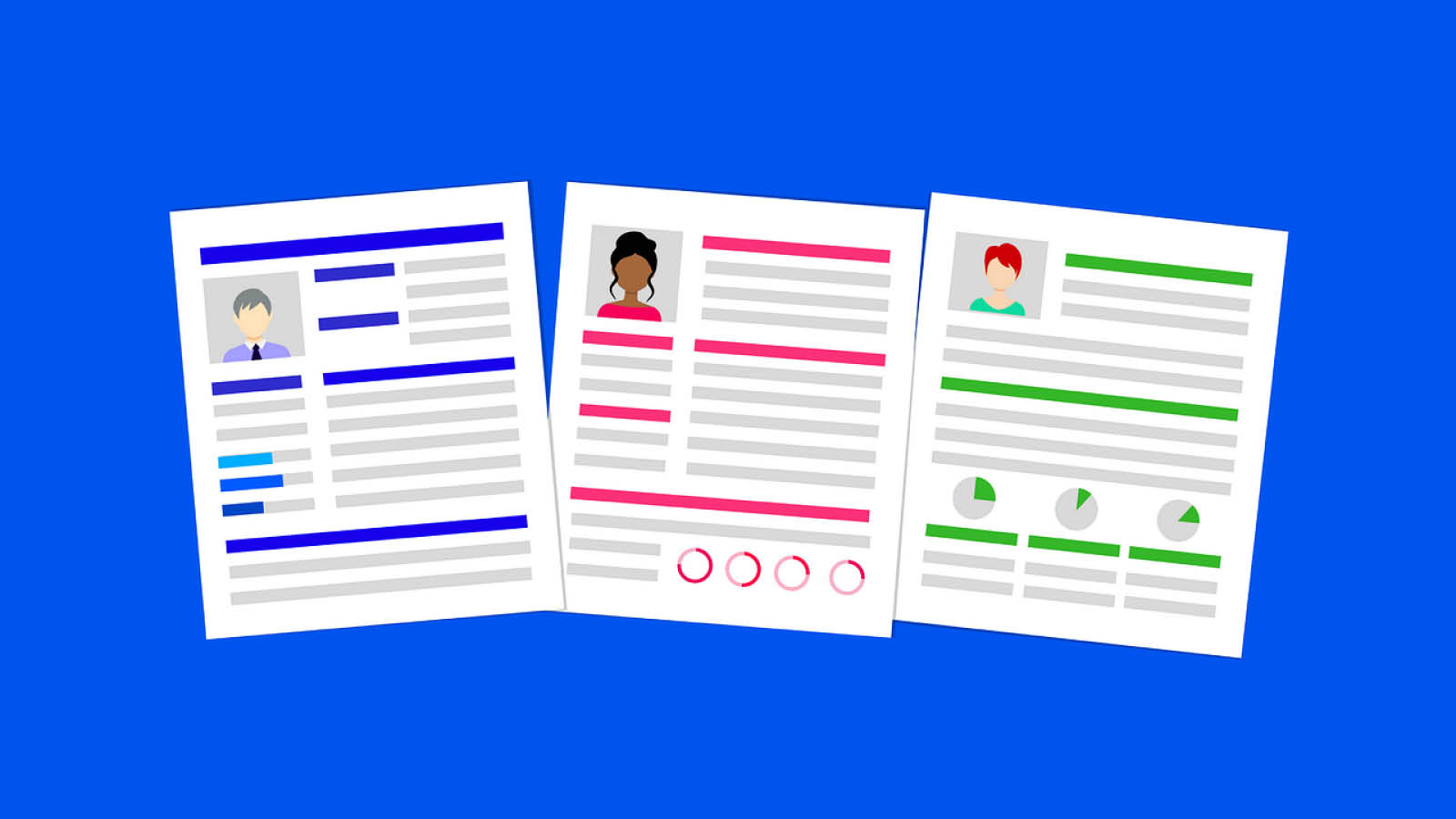 Image of three cartoon resumes on a bright blue background